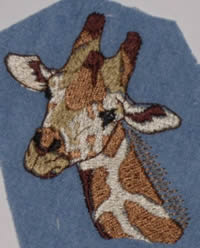 Giraffe - Example of Detailed Embroidery - Jacket - Sunshine Designs Custom Embroidery - Our Minimum Order is One!