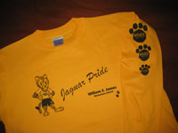 Long Sleeve Tee with printing on front and sleeve - Direct to Garment Digital Printing - Great for school spirit wear from Sunshine Designs